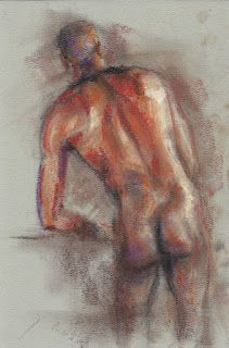 Black male nude figure backside