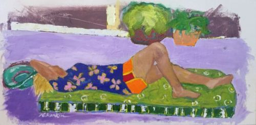 "Contemporary Female Figurative Fine Art Painting,Vacation, Blue Hat ""TAKING A BREAK"" by Oklahoma Artist Nancy Junkin"