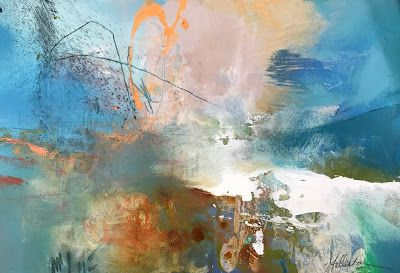 "Contemporary Abstract Mixed Media Landscape Painting ""BLUE RIDGE ILLUMINATION"" by Intuitive Artist Joan Fullerton"