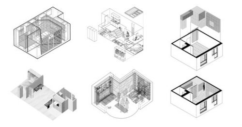 10 Tiny Apartments Less Than 38m2 and Their Axonometric Drawings