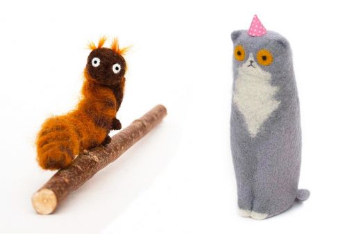 Confused Cats and Bewildered Bears Formed From Needle Felted Wool by Lindsey Thomas