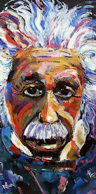 "Contemporary Portrait Painting, Palette Knife ""Albert Einstein Genius"" by Texas Artist Debra Hurd"