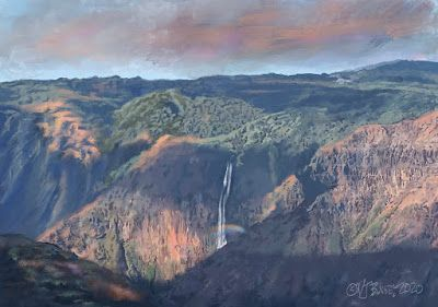 "Mountain Landscape,Kauai,Waterfall, Digital Art ""WAIMEA CANYON RAINBOW"" by Colorado Artist Nancee Jean Busse"
