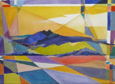 """Geometric Landscape, Original Art, Abstract Landscape, Watercolor Abstract Painting """"TAOS MOUNTAIN"""" by Contemporary Artist Lou Jordan"""