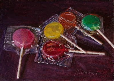 Lollipop candy still life food daily painting a day original oil painting small work of art