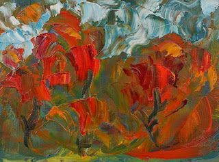 "Abstract Flower Oil Painting ""Garden to Tend"" by Colorado Impressionist Judith Babcock"