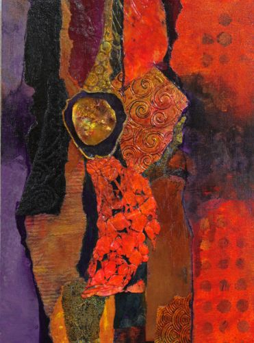 """Mixed Media Abstract Collage Painting, """"Madeline Island Demo 1"""" by Carol Nelson Fine Art"""