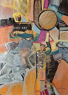 """Contemporary Abstract Art Painting, Mixed Media Collage """"Fine Art"""" by New Orleans Artist Lou Jordan"""
