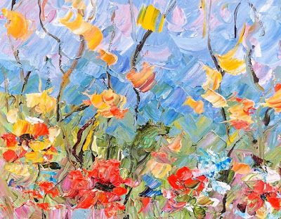 "Impressionist Floral Landscape Painting, Palette Knife Painting ""Spring Flowers"" by Colorado Impressionist Judith Babcock"