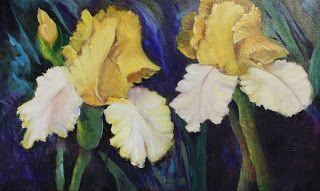 Yellow Iris Pair,oils canvas,Barbara Haviland-Artist of Texas