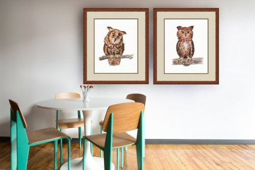 Baby Owl Watercolor Painting and Interior Decor of Baby Room