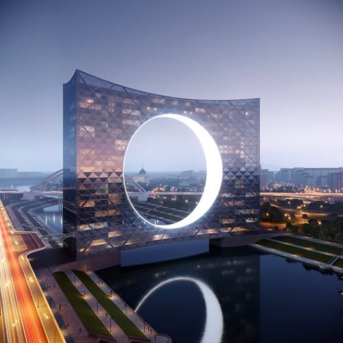 """Fundamental Designs """"Tower of the Sun"""" High-Rise Over Kazakhstan's Ishim River"""