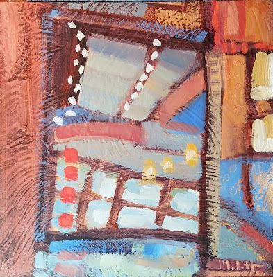 Abstract Art Coffee House Views Original Painting