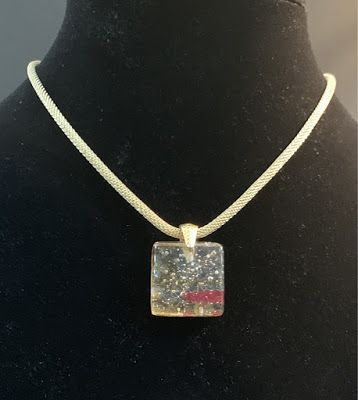 """Contemporary Jewelry, One of a Kind Fused Glass Jewelry, Necklace """"FUSED GLASS NECKLACE"""" by Florida Contemporary Artist and Designer Mary Ann Ziegler"""