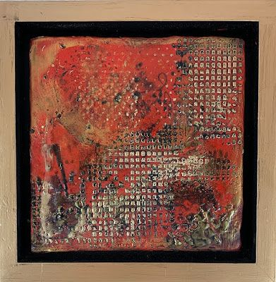 "Red Art, Encaustic Abstract Art, Mixed Media, Contemporary Painting, ""Abstract 1"" by Texas Contemporary Artist Sharon Whisnand"