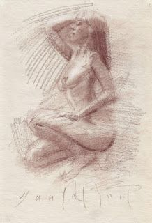 Crouching female nude red chalk sk