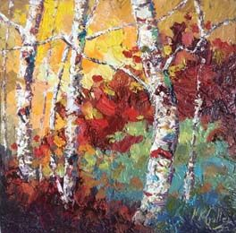 """""""Fall Textures"""" Palette Knife Oil Painting by Texas Artist Niki Gulley"""