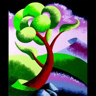 Mark Webster - Abstract Geometric Futurist Mountain River Landscape Oil Painting