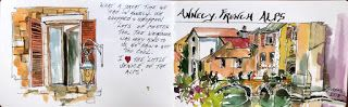 Journal Entry From the French Alps and Switzerland..Watercolor..Texas Artist..Rae Andrews