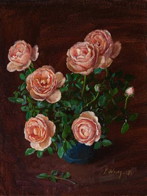 Mini rose flower plant in a pot flora still life oil painting original contemporary realism