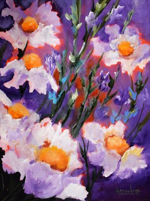 "Contemporary Floral Fine Art Painting,Environmental Art ""Cheerful Flowers"" by International Contemporary Artist Arrachme"