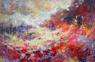 "New ""Blossoming Dreams"" Abstract Poppy Field Painting by Niki Gulley"