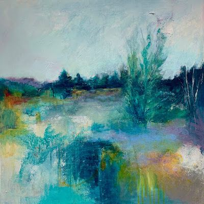 "Abstract Landscape, Contemporary Art, Trees ""FOCUSED ON A PRAYER"" by Contemporary Artist Liz Thoresen"
