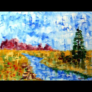 Mark Webster - Abstract Patchwork Landscape Acrylic Painting