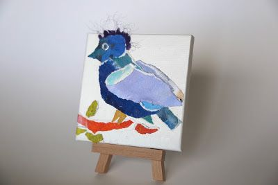 "Blue Bird, Bird Painting, Textural Collage, Bird Art , Mixed Media, ""BLUE BIRD"