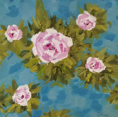 """Roses, Floral Art, Flower Painting, Contemporary Art, """"Quintet of Roses"""