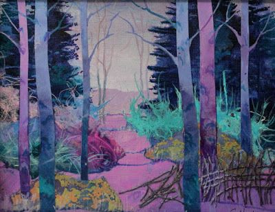 "Abstract Landscape, Trees, Contemporary Art, ""Lavender Love"" by Colorado Artist Carol Nelson"