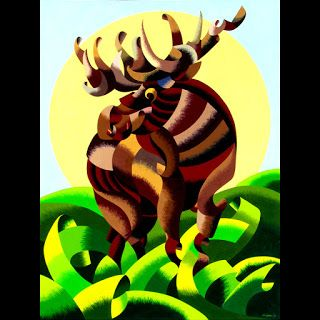 Mark Webster - Abstract Geometric Moose - Wildlife Oil Painting on Canvas