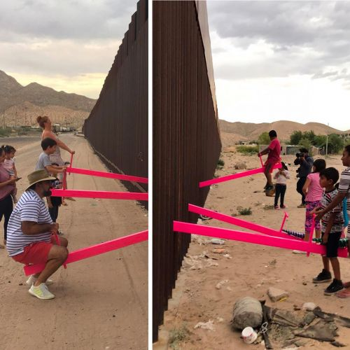 Neighboring Communities Playfully Connect Atop Neon Pink Teetertotters Slotted Through the U.S.-Mexico Border Wall