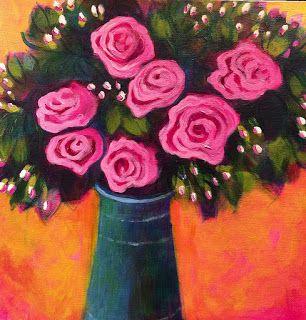 "Contemporary Bold Expressive Abstract Painting,Still Life, Flower Art Painting ""Fall Roses"" by Santa Fe Artist Annie O'Brien Gonzales"