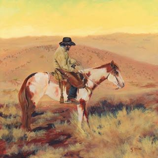 "Western Art, Horse Cowboy Landscape Painting ""SUNRISE-MCELMO-CANYON-2"" by Colorado Landscape Artist Nancee Jean Busse, Painter of the American West"