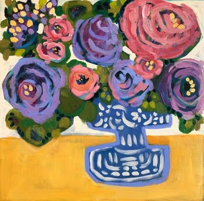 "Contemporary Expressionist Bold Still Life Flower Art Painting ""Purple-Yellow Song"" by Santa Fe Artist Annie O'Brien Gonzales"