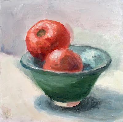 338 Quiet Tomatoes, still life painting by Fred Bell, 6x6, oil on panel