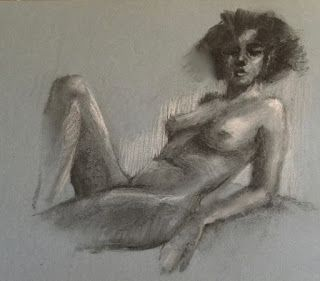 Nude on Blue-Grey Paper - charcoal life drawing with touches of white charcoal