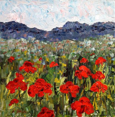 "Original Palette Knife Poppy Landscape Painting ""Land of the Poppy Goddess"" by Colorado Impressionist Judith Babcock"