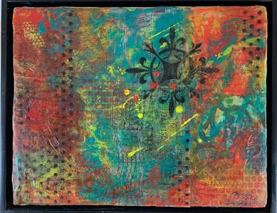 "Encaustic Abstract Art, Mixed Media, Contemporary Painting, ""Writings"" by Texas Contemporary Artist Sharon Whisnand"