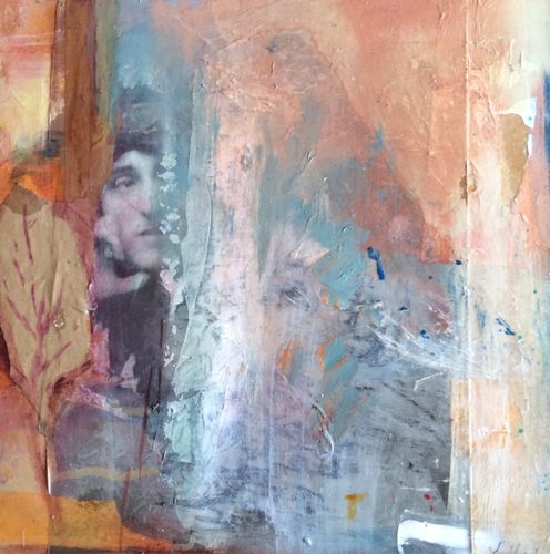 "Abstract Mixed Media,Collage Art Painting, Face ""End of Summer"" by Intuitive Artist Joan Fullerton"
