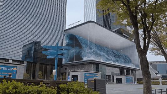 A Massive Wave Crashes in a Seoul Aquarium as Part of the World's Largest Anamorphic Illusion