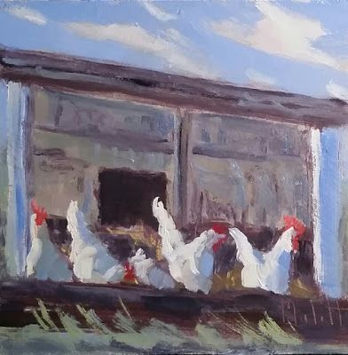 Chicken Art Contemporary Impressionism Original Oil Painting Heidi Malott