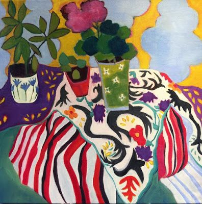 """Contemporary Abstract Still Life Art,Bold Expressive Painting """"Balcony"""" by Santa Fe Artist Annie O'Brien Gonzales"""