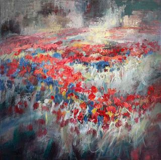 "New ""Symphony in Springtime III"" Abstract Wildflower Painting by Niki Gulley"