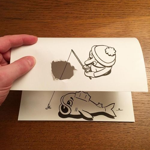 Three-Dimensional Paper Doodles Created With Playful Folds and Rips by HuskMitNavn