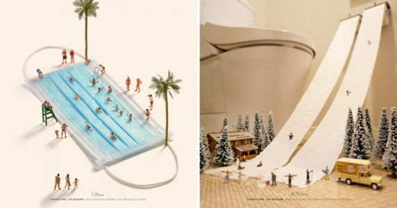 Photographer Turns Masks and Toilet Paper into Intricate Miniature Worlds