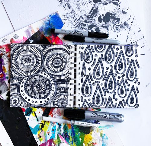 A peek inside my art journal- limited time, lots of doodles