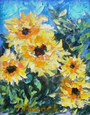 Palette Knife Flower Art Painting 'Sunflowers for You' by Colorado Impressionist Judith Babcock