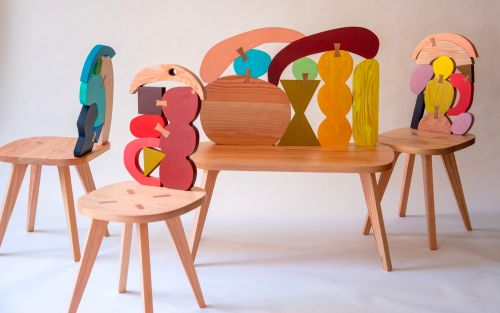 Hand-Painted Wood Offcuts Form Colorful Dovetailed Chairs and Benches by Donna Wilson